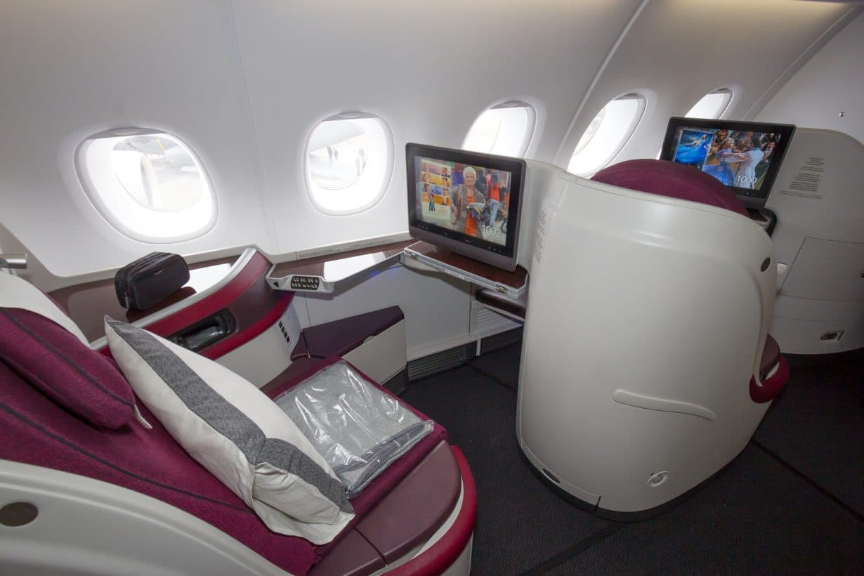 Which airlines are best in class for first business for Interieur qatar airways